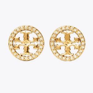 Tory Burch earrings logo gold crystal earrings